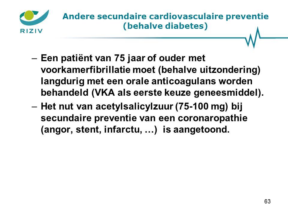 Andere secundaire cardiovasculaire preventie (behalve diabetes) –Een patiënt van 75 jaar of ouder met voorkamerfibrillatie moet (behalve uitzondering) langdurig met een orale anticoagulans worden behandeld (VKA als eerste keuze geneesmiddel).