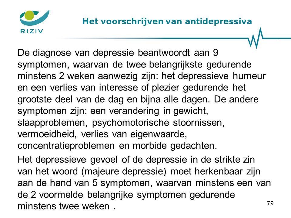 Het voorschrijven van antidepressiva De diagnose van depressie beantwoordt aan 9 symptomen, waarvan de twee belangrijkste gedurende minstens 2 weken aanwezig zijn: het depressieve humeur en een verlies van interesse of plezier gedurende het grootste deel van de dag en bijna alle dagen.