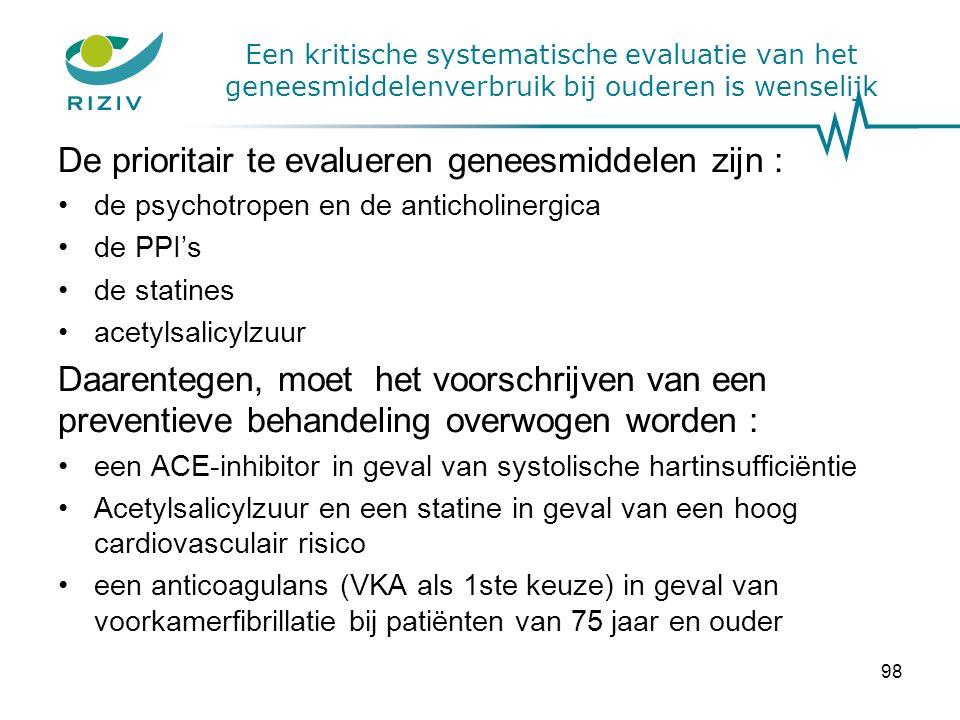 Een kritische systematische evaluatie van het geneesmiddelenverbruik bij ouderen is wenselijk De prioritair te evalueren geneesmiddelen zijn : de psychotropen en de anticholinergica de PPI's de statines acetylsalicylzuur Daarentegen, moet het voorschrijven van een preventieve behandeling overwogen worden : een ACE-inhibitor in geval van systolische hartinsufficiëntie Acetylsalicylzuur en een statine in geval van een hoog cardiovasculair risico een anticoagulans (VKA als 1ste keuze) in geval van voorkamerfibrillatie bij patiënten van 75 jaar en ouder 98