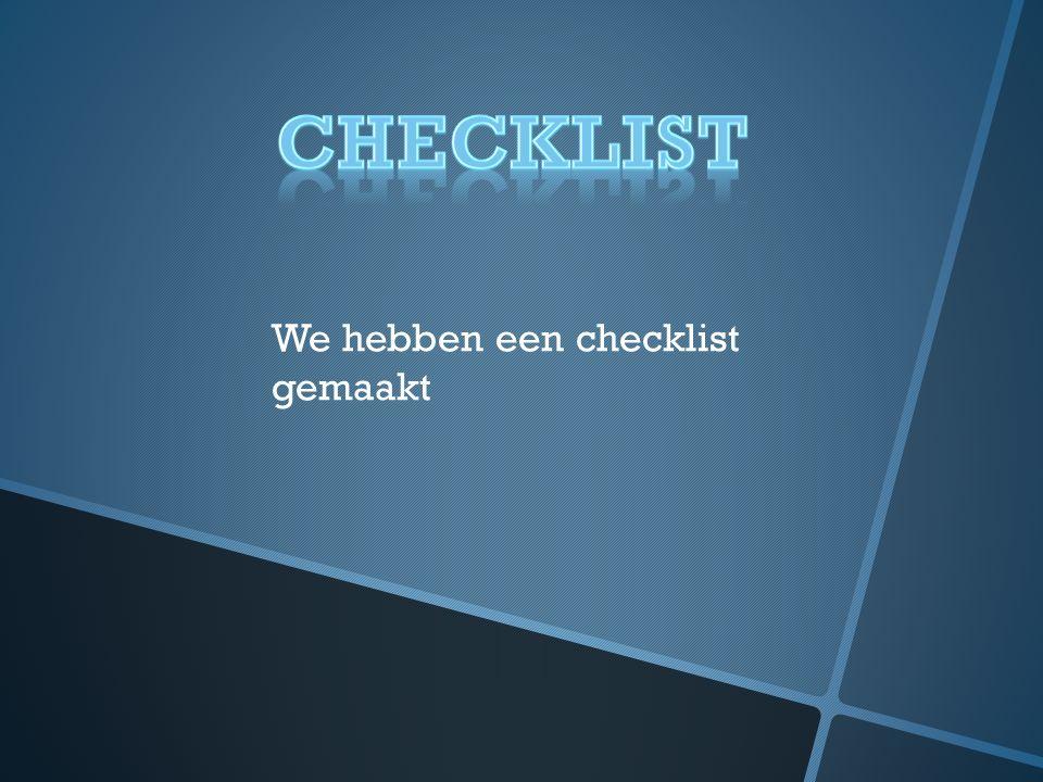 We hebben een checklist gemaakt