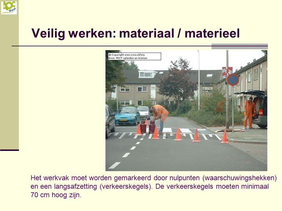 Veilig werken: materiaal / materieel Het werkvak moet worden gemarkeerd door nulpunten (waarschuwingshekken) en een langsafzetting (verkeerskegels). D