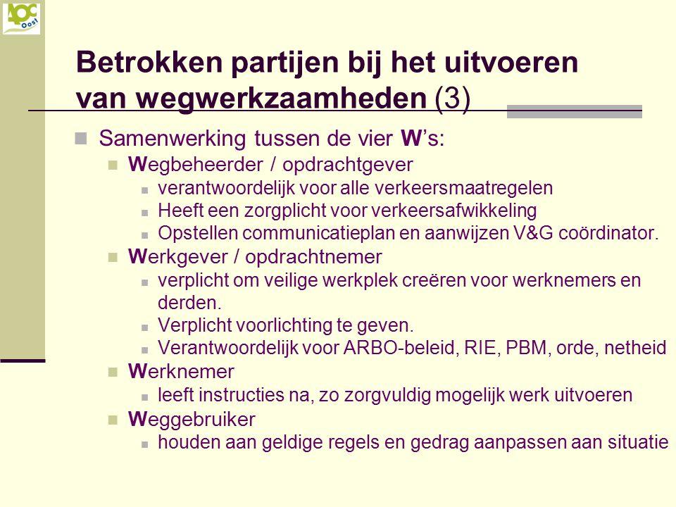 Betrokken partijen bij het uitvoeren van wegwerkzaamheden (3) Samenwerking tussen de vier W's: Wegbeheerder / opdrachtgever verantwoordelijk voor alle