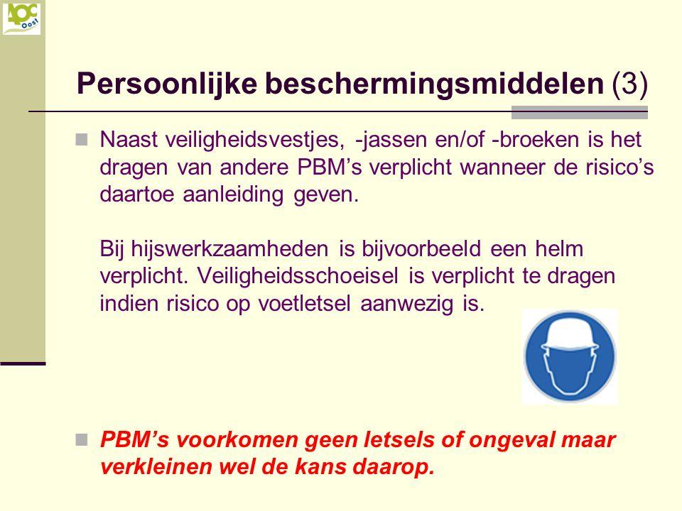 Naast veiligheidsvestjes, -jassen en/of -broeken is het dragen van andere PBM's verplicht wanneer de risico's daartoe aanleiding geven. Bij hijswerkza