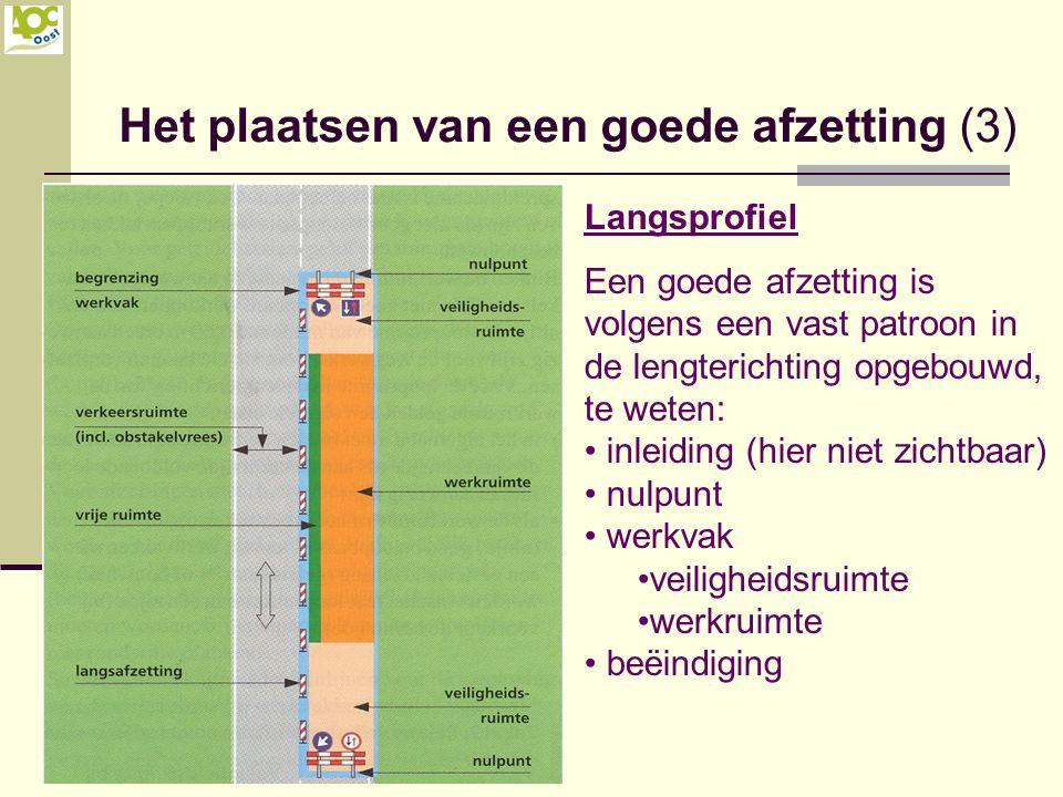 Het plaatsen van een goede afzetting (3) Langsprofiel Een goede afzetting is volgens een vast patroon in de lengterichting opgebouwd, te weten: inleid