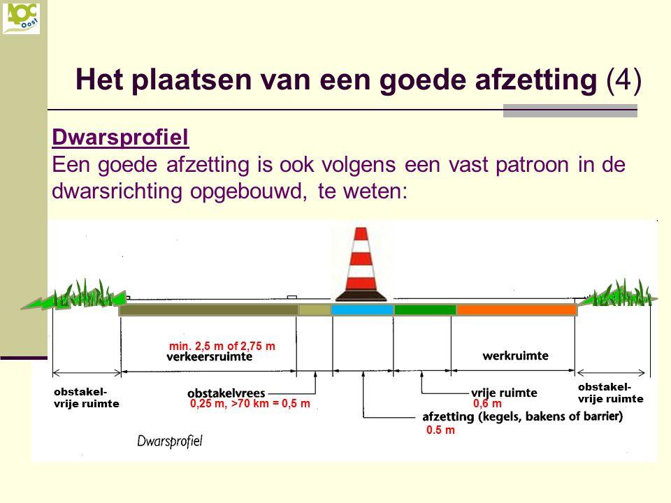 Het plaatsen van een goede afzetting (4) Dwarsprofiel Een goede afzetting is ook volgens een vast patroon in de dwarsrichting opgebouwd, te weten: 0,6