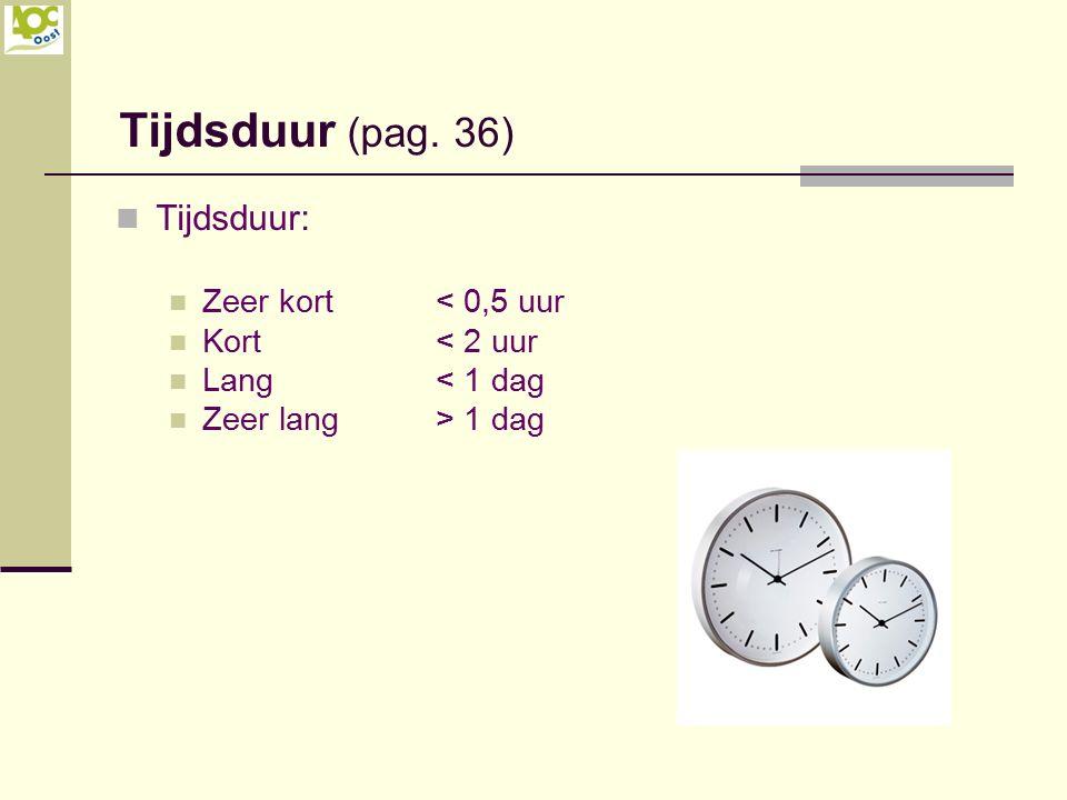 Tijdsduur: Zeer kort< 0,5 uur Kort< 2 uur Lang< 1 dag Zeer lang> 1 dag Tijdsduur (pag. 36)