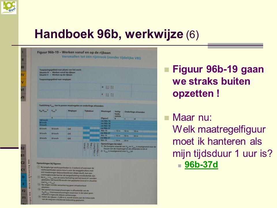 Figuur 96b-19 gaan we straks buiten opzetten ! Maar nu: Welk maatregelfiguur moet ik hanteren als mijn tijdsduur 1 uur is? 96b-37d Handboek 96b, werkw