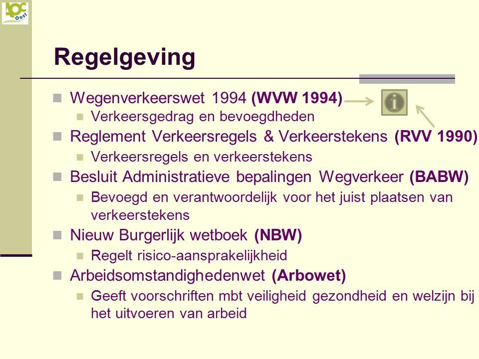 Regelgeving Wegenverkeerswet 1994 (WVW 1994) Verkeersgedrag en bevoegdheden Reglement Verkeersregels & Verkeerstekens (RVV 1990) Verkeersregels en ver