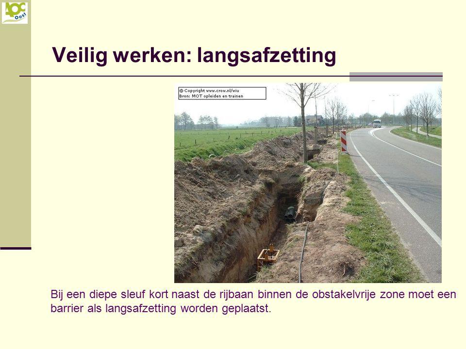 Veilig werken: langsafzetting Bij een diepe sleuf kort naast de rijbaan binnen de obstakelvrije zone moet een barrier als langsafzetting worden geplaa