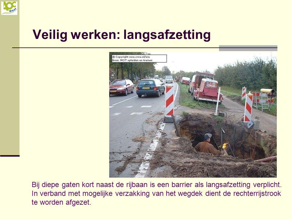 Veilig werken: langsafzetting Bij diepe gaten kort naast de rijbaan is een barrier als langsafzetting verplicht. In verband met mogelijke verzakking v