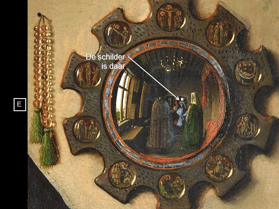 Prachtig realisme van de luster en precisie van de spiegel die het portret van de schilder reflecteert D E