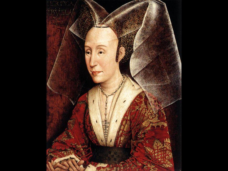 Jonkvrouw Marguerite (zijn echtgenote). Haar ogen fixeren de toeschouwer, wat toen een nieuwigheid was !