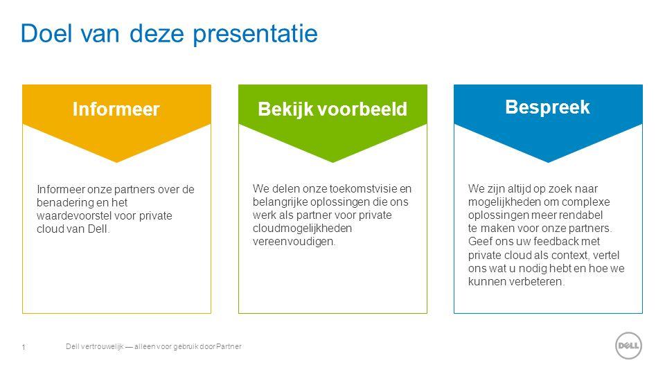 1 Dell vertrouwelijk — alleen voor gebruik door Partner Doel van deze presentatie Bespreek Bekijk voorbeeld Informeer Informeer onze partners over de benadering en het waardevoorstel voor private cloud van Dell.