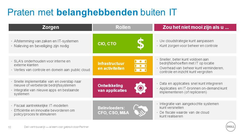 10 Dell vertrouwelijk — alleen voor gebruik door Partner Praten met belanghebbenden buiten IT ZorgenRollenZou het niet mooi zijn als u... Infrastructu