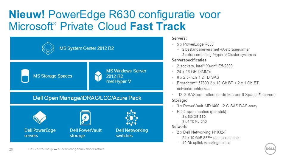 20 Dell vertrouwelijk — alleen voor gebruik door Partner Nieuw! PowerEdge R630 configuratie voor Microsoft ® Private Cloud Fast Track Servers: 5 x Pow