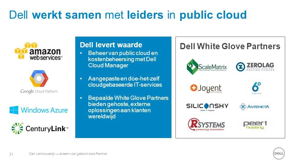 21 Dell vertrouwelijk — alleen voor gebruik door Partner Dell werkt samen met leiders in public cloud Dell levert waarde Beheer van public cloud en kostenbeheersing met Dell Cloud Manager Aangepaste en doe-het-zelf cloudgebaseerde IT-services Bepaalde White Glove Partners bieden gehoste, externe oplossingen aan klanten wereldwijd Dell White Glove Partners