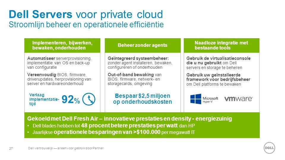 27 Dell vertrouwelijk — alleen voor gebruik door Partner Automatiseer serverprovisioning, implementatie van OS en back-up van configuratie Vereenvoudi