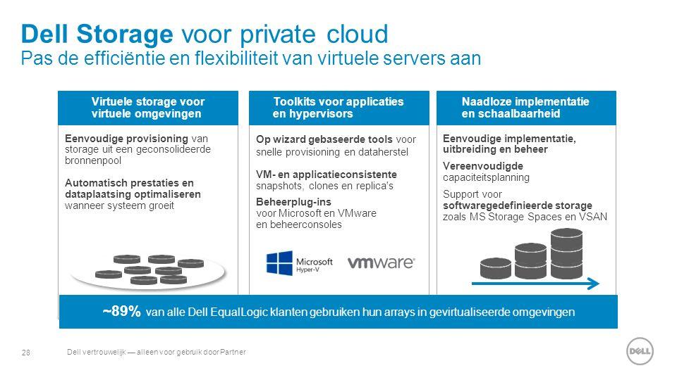 28 Dell vertrouwelijk — alleen voor gebruik door Partner Eenvoudige provisioning van storage uit een geconsolideerde bronnenpool Automatisch prestatie