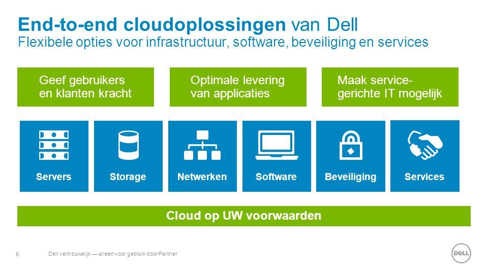 5 Dell vertrouwelijk — alleen voor gebruik door Partner End-to-end cloudoplossingen van Dell Flexibele opties voor infrastructuur, software, beveiliging en services Servers StorageNetwerken SoftwareBeveiliging Services Cloud op UW voorwaarden Geef gebruikers en klanten kracht Optimale levering van applicaties Maak service- gerichte IT mogelijk