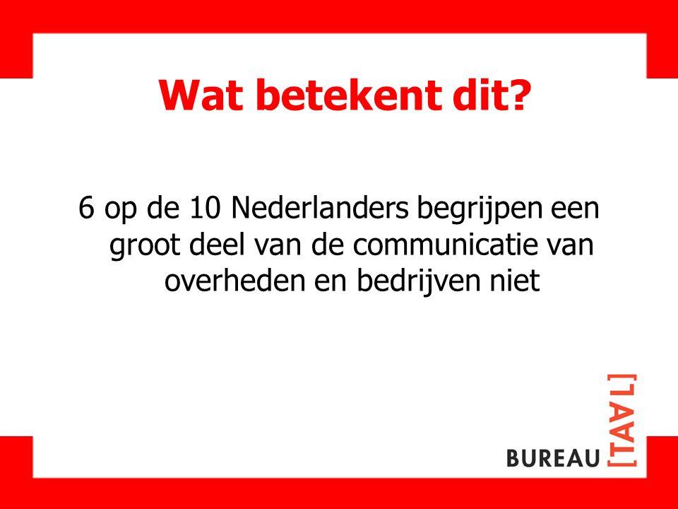 Wat betekent dit? 6 op de 10 Nederlanders begrijpen een groot deel van de communicatie van overheden en bedrijven niet
