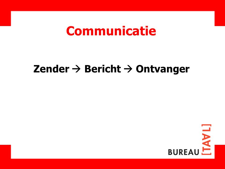 Effectieve communicatie Zender  Bericht  Ontvanger     
