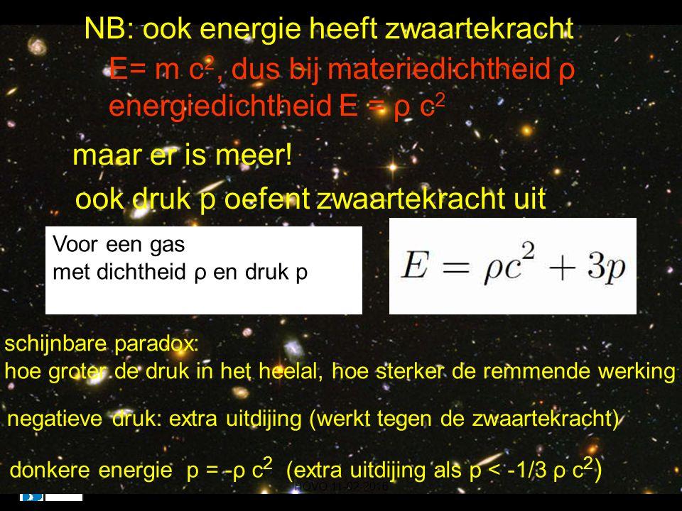 maar er is meer! ook druk p oefent zwaartekracht uit NB: ook energie heeft zwaartekracht E= m c 2, dus bij materiedichtheid ρ energiedichtheid E = ρ c