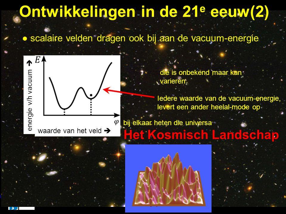 Ontwikkelingen in de 21 e eeuw(2) xx ● scalaire velden dragen ook bij aan de vacuum-energie energie v/h vacuum  waarde van het veld  Iedere waarde v