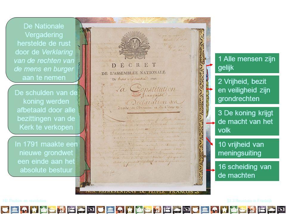 H2 Pruiken en revoluties§2.3 Revolutie in Frankrijk 1 Alle mensen zijn gelijk 2 Vrijheid, bezit en veiligheid zijn grondrechten 3 De koning krijgt de