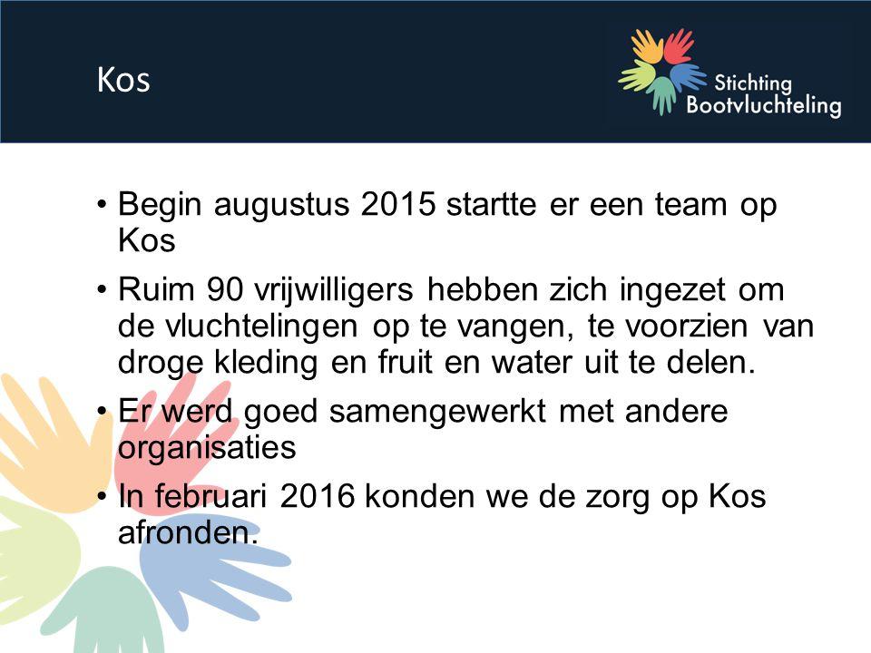 Begin augustus 2015 startte er een team op Kos Ruim 90 vrijwilligers hebben zich ingezet om de vluchtelingen op te vangen, te voorzien van droge kleding en fruit en water uit te delen.
