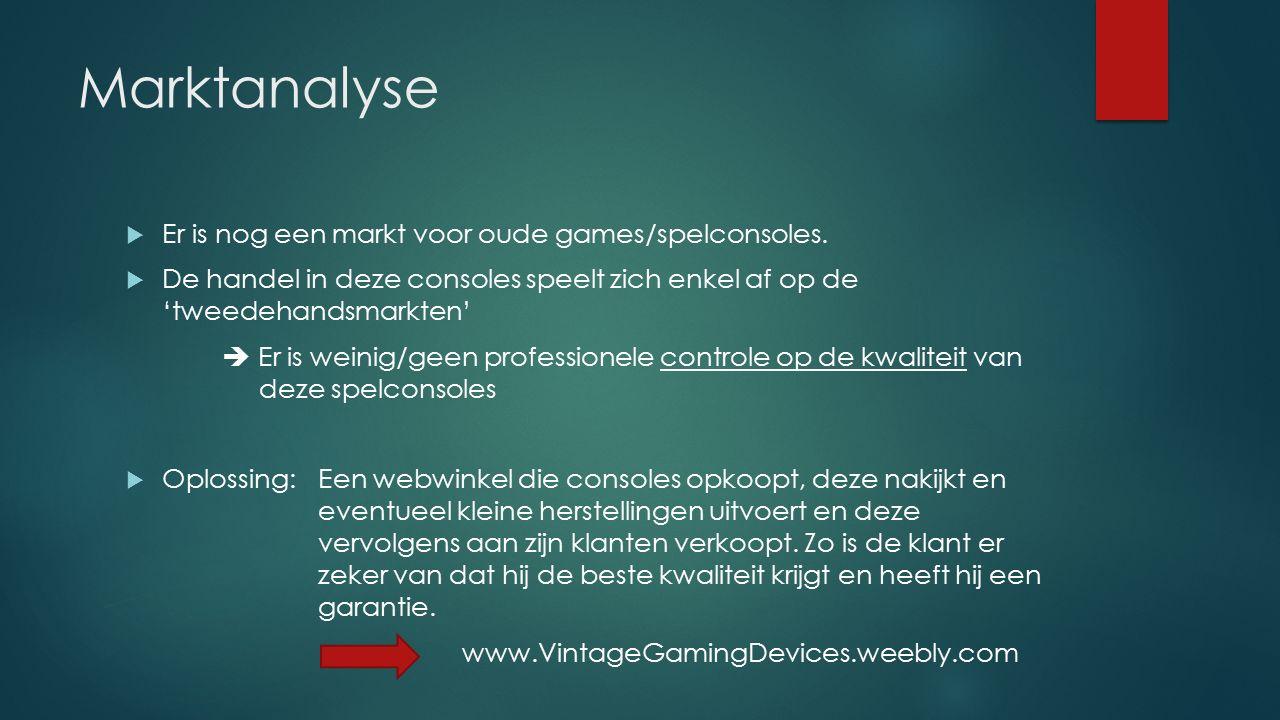Marktanalyse  Er is nog een markt voor oude games/spelconsoles.