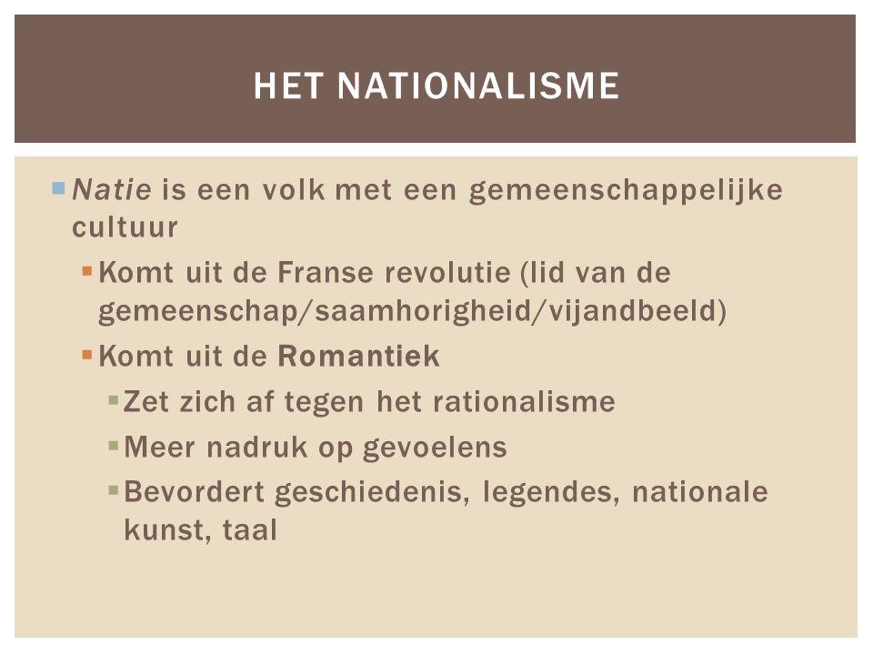  Natie is een volk met een gemeenschappelijke cultuur  Komt uit de Franse revolutie (lid van de gemeenschap/saamhorigheid/vijandbeeld)  Komt uit de Romantiek  Zet zich af tegen het rationalisme  Meer nadruk op gevoelens  Bevordert geschiedenis, legendes, nationale kunst, taal HET NATIONALISME