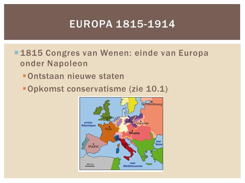  1815 Congres van Wenen: einde van Europa onder Napoleon  Ontstaan nieuwe staten  Opkomst conservatisme (zie 10.1) EUROPA 1815-1914