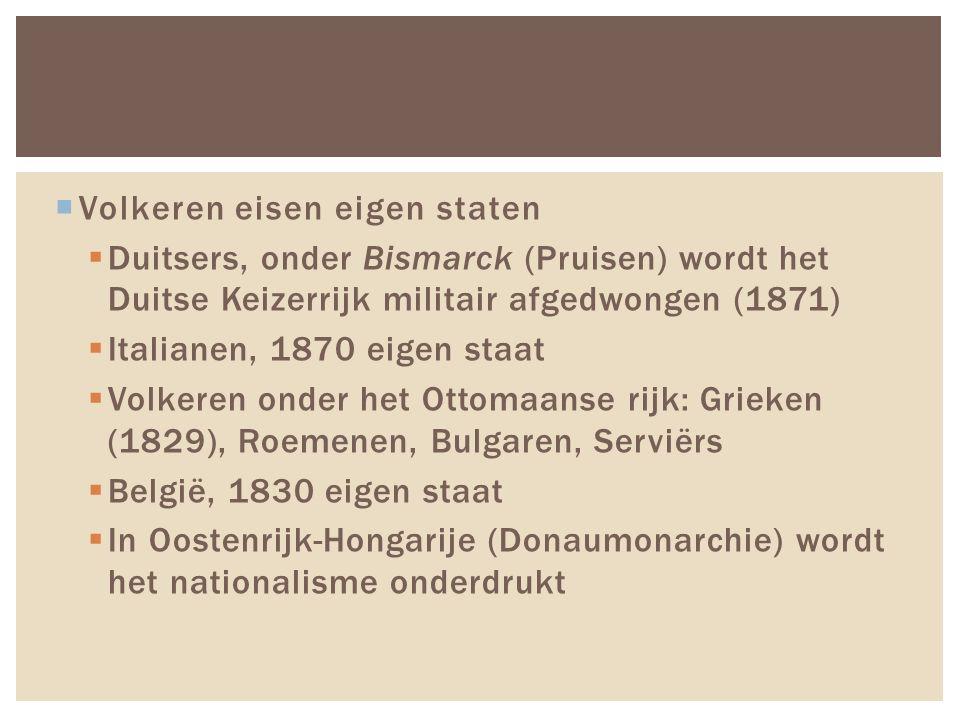  Volkeren eisen eigen staten  Duitsers, onder Bismarck (Pruisen) wordt het Duitse Keizerrijk militair afgedwongen (1871)  Italianen, 1870 eigen staat  Volkeren onder het Ottomaanse rijk: Grieken (1829), Roemenen, Bulgaren, Serviërs  België, 1830 eigen staat  In Oostenrijk-Hongarije (Donaumonarchie) wordt het nationalisme onderdrukt