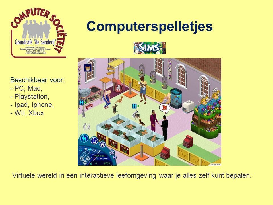 Computerspelletjes Virtuele wereld in een interactieve leefomgeving waar je alles zelf kunt bepalen. Beschikbaar voor: - PC, Mac, - Playstation, - Ipa