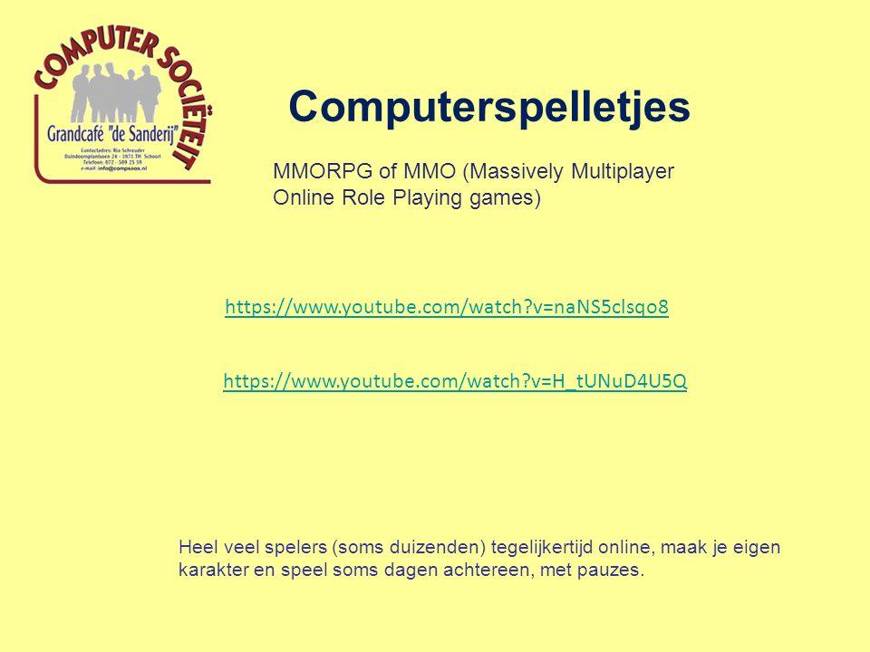 Computerspelletjes MMORPG of MMO (Massively Multiplayer Online Role Playing games) Heel veel spelers (soms duizenden) tegelijkertijd online, maak je e