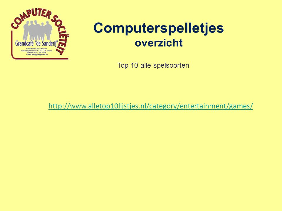 Computerspelletjes overzicht Top 10 alle spelsoorten http://www.alletop10lijstjes.nl/category/entertainment/games/