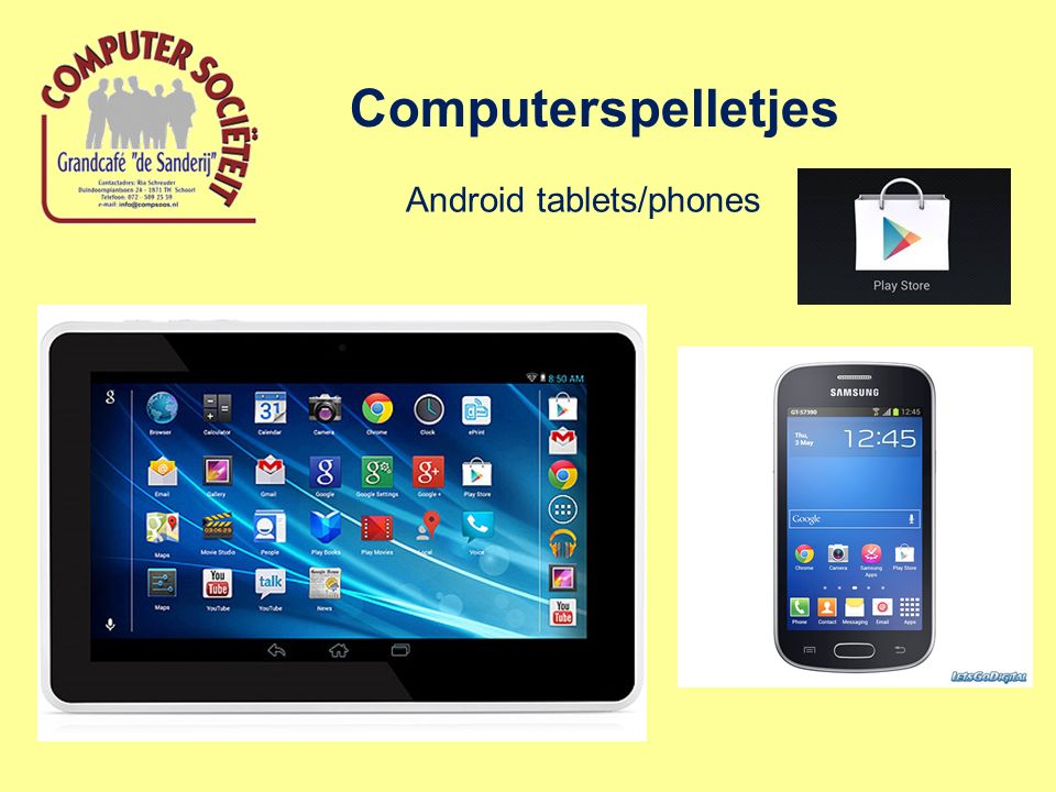 Computerspelletjes Android tablets/phones