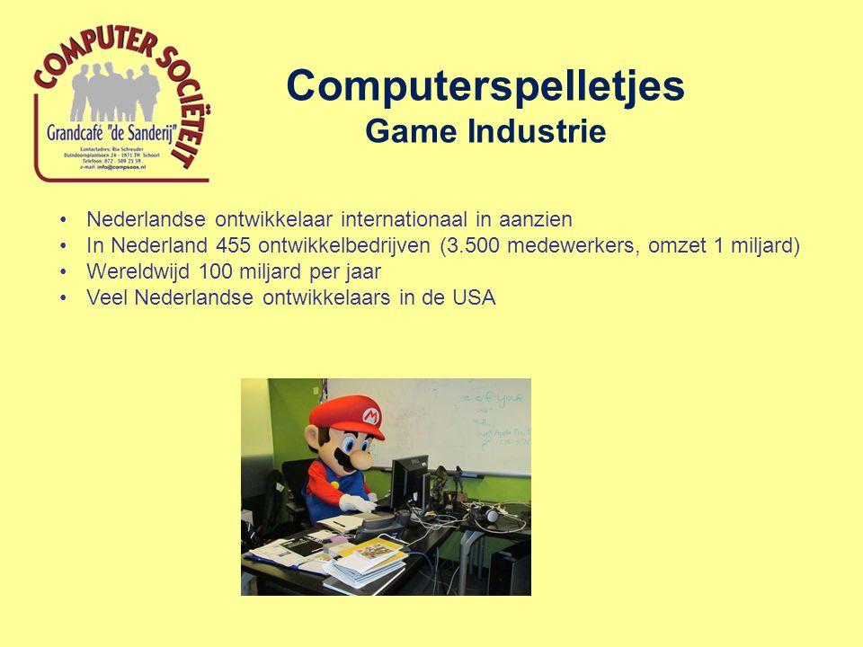 Computerspelletjes Game Industrie Nederlandse ontwikkelaar internationaal in aanzien In Nederland 455 ontwikkelbedrijven (3.500 medewerkers, omzet 1 miljard) Wereldwijd 100 miljard per jaar Veel Nederlandse ontwikkelaars in de USA