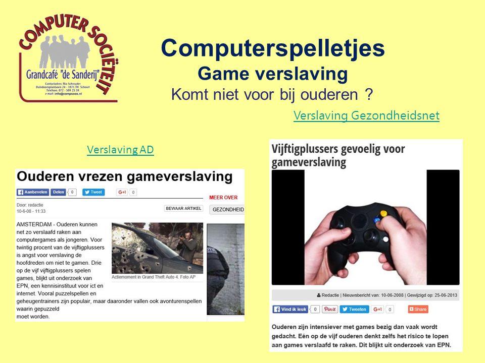 Computerspelletjes Game verslaving Verslaving AD Komt niet voor bij ouderen ? Verslaving Gezondheidsnet