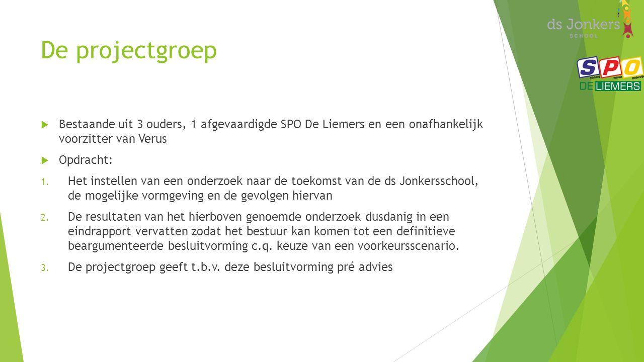 De projectgroep  Bestaande uit 3 ouders, 1 afgevaardigde SPO De Liemers en een onafhankelijk voorzitter van Verus  Opdracht: 1.