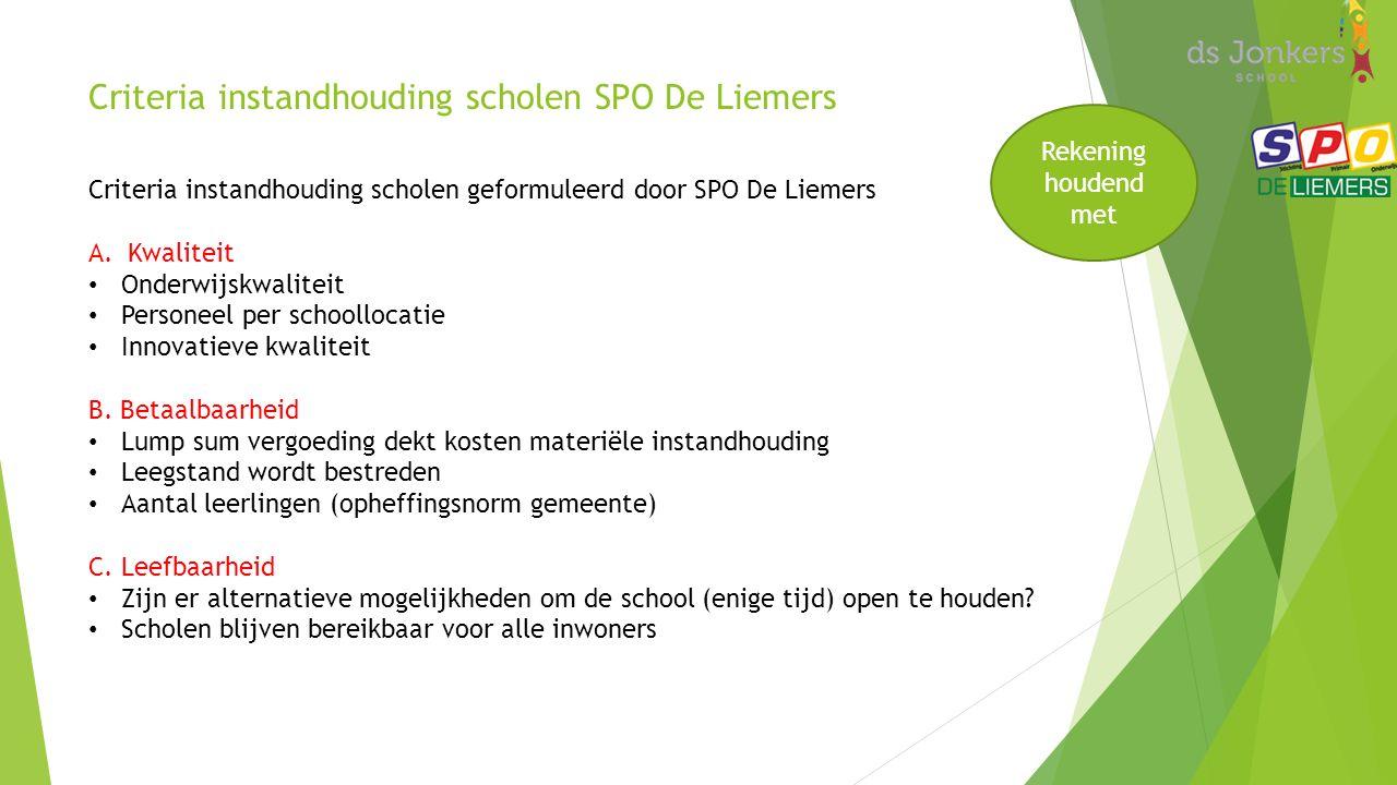 Criteria instandhouding scholen SPO De Liemers Criteria instandhouding scholen geformuleerd door SPO De Liemers A.Kwaliteit Onderwijskwaliteit Personeel per schoollocatie Innovatieve kwaliteit B.