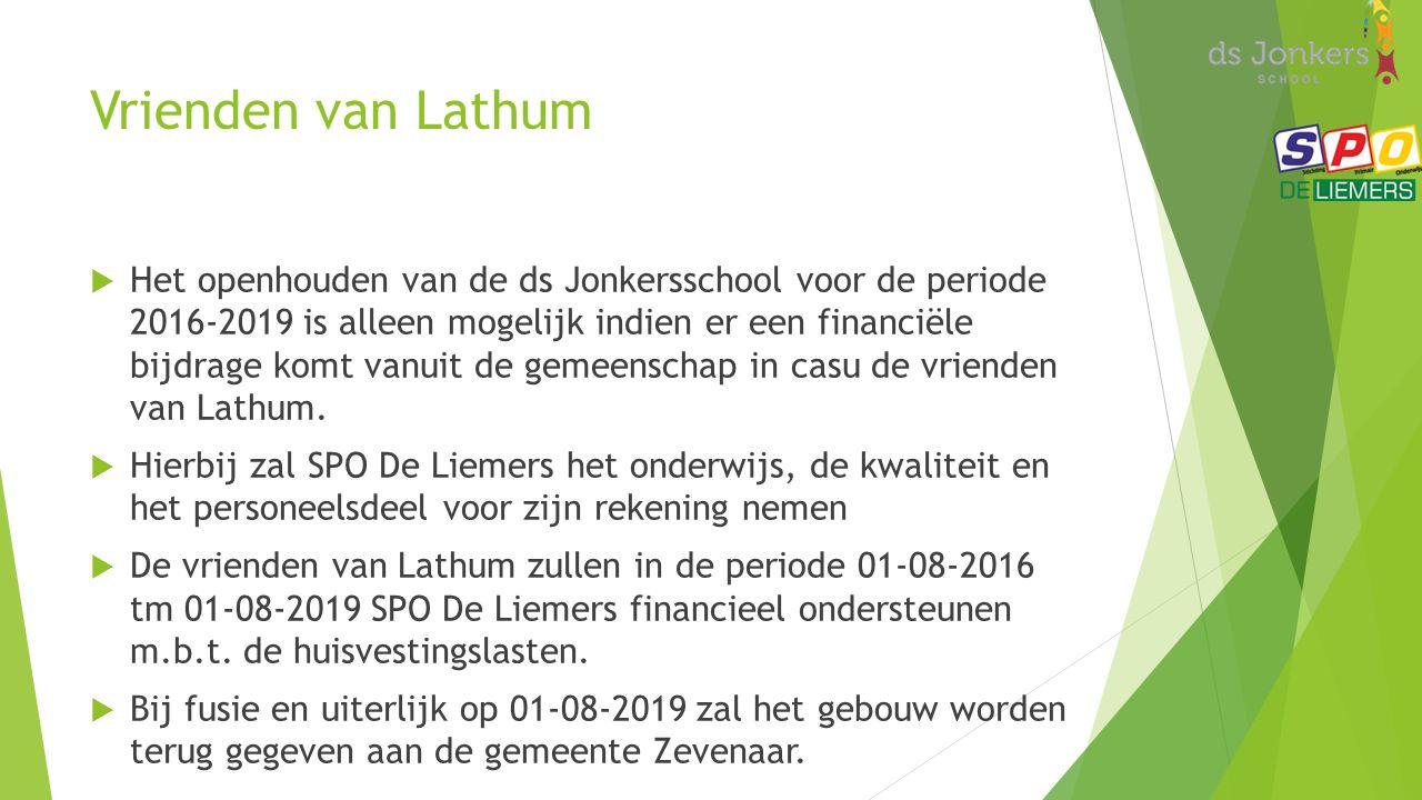 Vrienden van Lathum  Het openhouden van de ds Jonkersschool voor de periode 2016-2019 is alleen mogelijk indien er een financiële bijdrage komt vanuit de gemeenschap in casu de vrienden van Lathum.