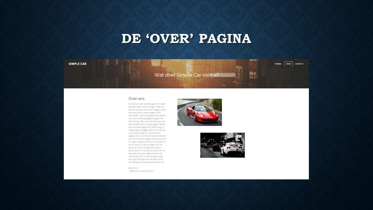 DE 'OVER' PAGINA