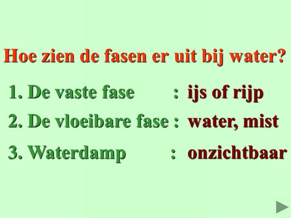 Hoe zien de fasen er uit bij water? water, mist 3. Waterdamp : 3. Waterdamp : ijs of rijp 2. De vloeibare fase : 2. De vloeibare fase : onzichtbaar