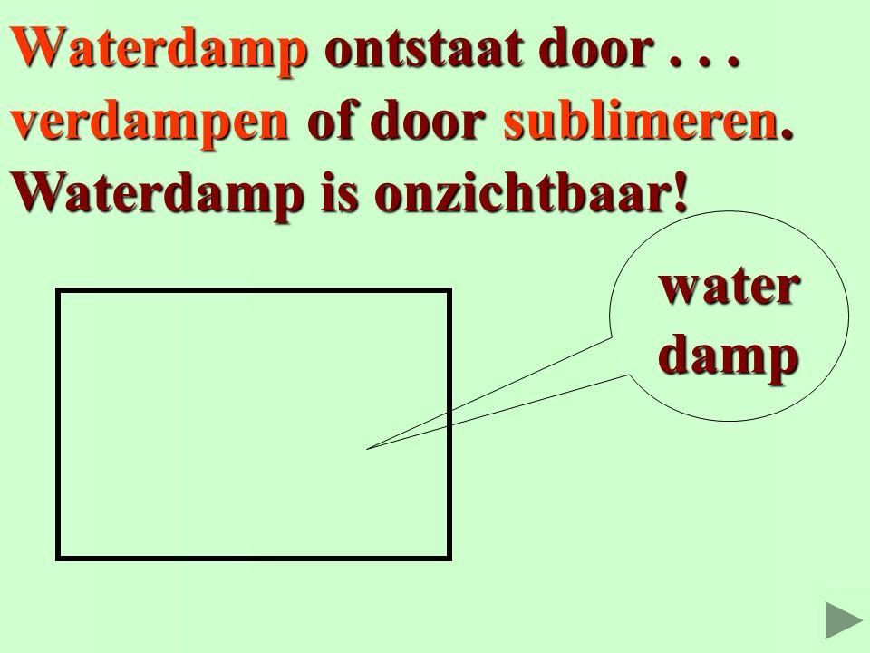 Waterdamp ontstaat door... verdampen Waterdamp is onzichtbaar! water damp sublimeren. of door