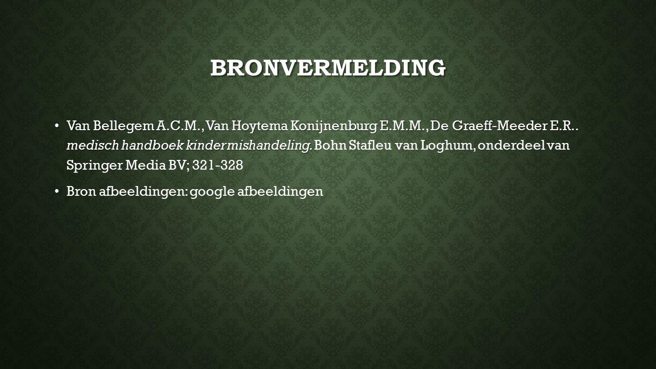 BRONVERMELDING Van Bellegem A.C.M., Van Hoytema Konijnenburg E.M.M., De Graeff-Meeder E.R.. medisch handboek kindermishandeling. Van Bellegem A.C.M.,