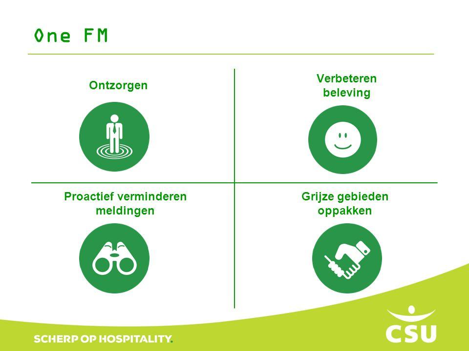 Verbeteren beleving One FM Ontzorgen Grijze gebieden oppakken Proactief verminderen meldingen