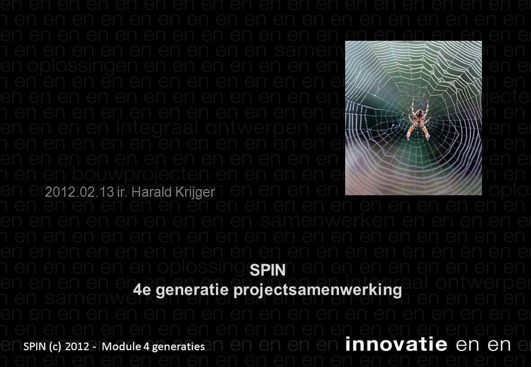 SPIN (c) 2012 - Module 4 generaties SPIN 4e generatie projectsamenwerking 2012.02.13 ir. Harald Krijger