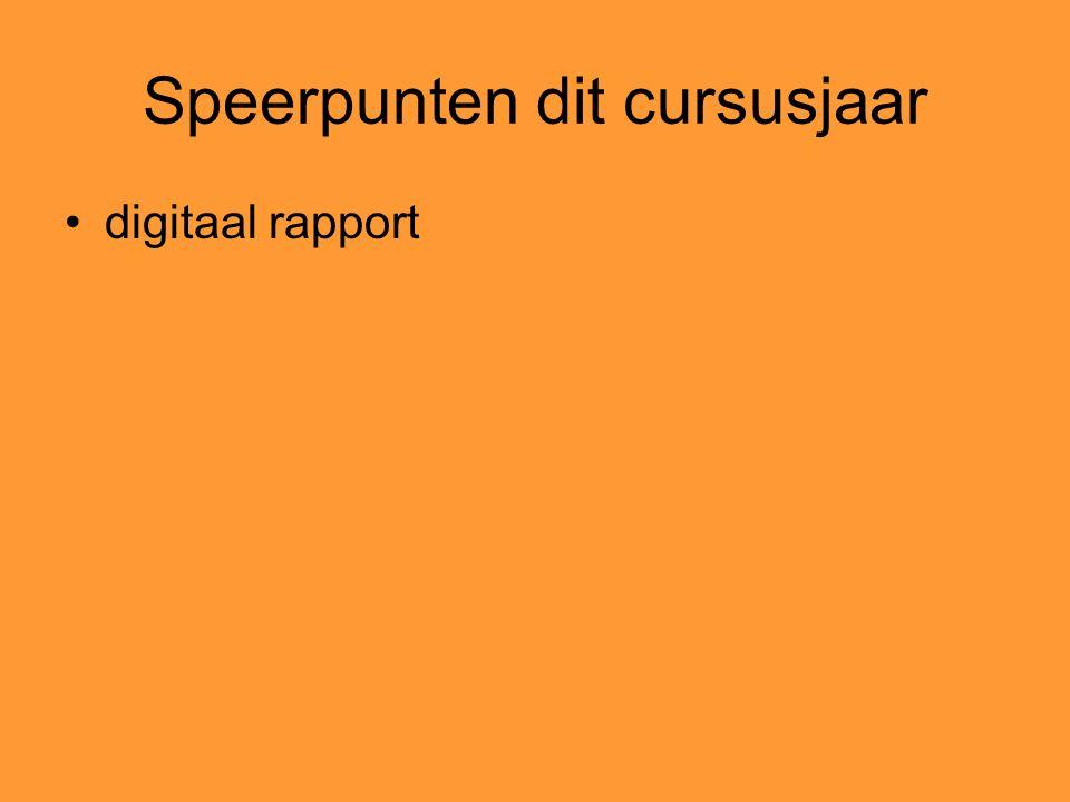 Speerpunten dit cursusjaar digitaal rapport