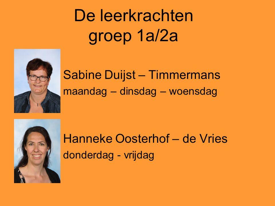 De leerkrachten groep 1a/2a Sabine Duijst – Timmermans maandag – dinsdag – woensdag Hanneke Oosterhof – de Vries donderdag - vrijdag